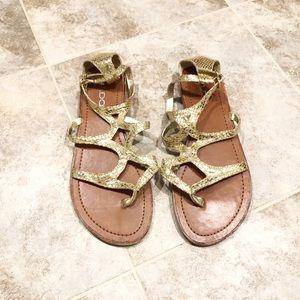 Aldo gold leather gladiator sandals 37 / 7